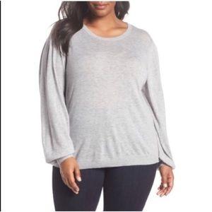 Sejour Gray Heather Balloon Sleeve Sweater Sz 3X